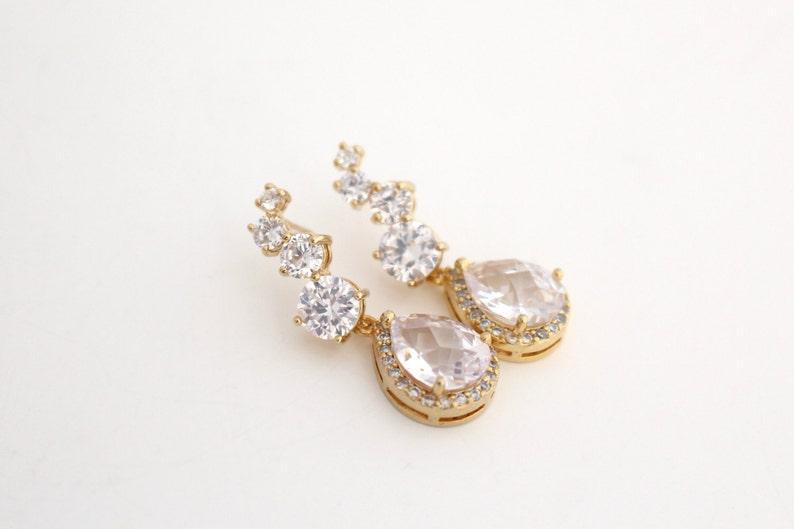 Clear Cubic Zirconia Earrings Gold Bridal Earrings Gold Luxury Wedding Earrings Teardrop Wedding Earrings Wedding Jewelry for Brides