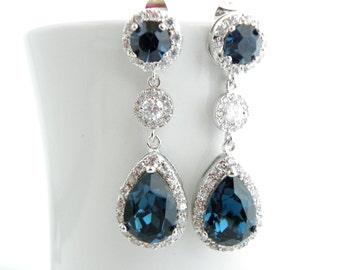 Navy Blue Wedding Earrings, Navy Blue Earrings, Something Blue Wedding, Montana Blue Swarovski Earrings, Blue Bridal Eearrings Teardrop