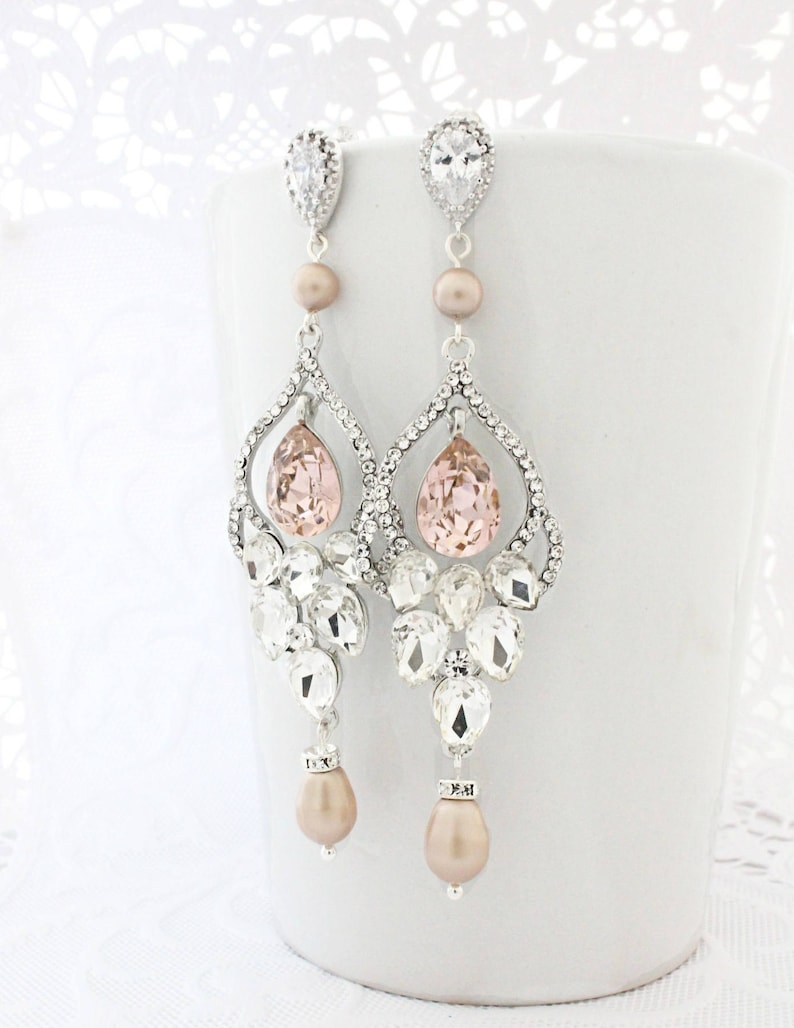 25e93d921f7c2 Blush Wedding Jewelry Earrings, Wedding Chandelier Earrings, Pearl Bridal  Earrings Rose, Long Wedding Earrings with Pearls and Crystals,