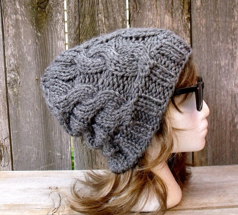 e4b4ef560c9 Women s Chunky Cable Knit Hat in Medium Grey Slouchy