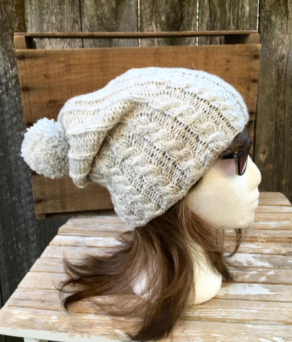 Cable Knit Pom Pom Hat in Grey and White Marled Knitting Hat  9cf2d4b338