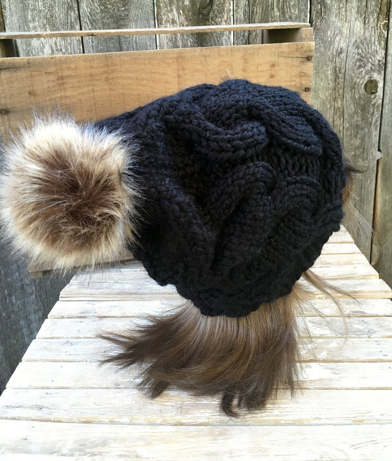f42531b6899 Knit Hat with Faux Fur Pom Pom Pom Pom Hat Black Pom Pom