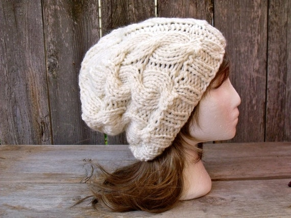 Women s Chunky Cable Knit Hat in Cream Off White Slouchy  77db049d9