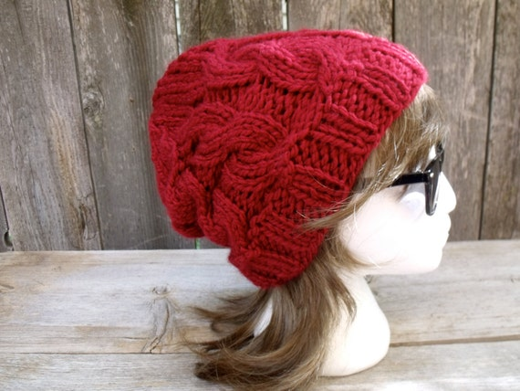 f1b3dc8fa07 Women s Chunky Cable Knit Hat in Cranberry Red Slouchy