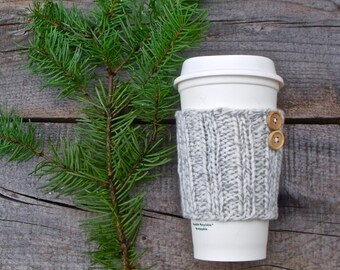 Coffee Sleeve, Coffee Cozy, Knit Coffee Sleeve, Coffee Sleeve with Buttons, Grey and White Marled, Travel Mug Cozy, Cup Cozy, Cup Sleeve