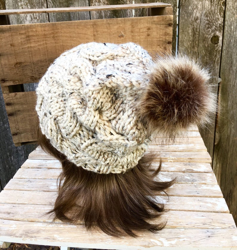 3168359b64e39 Women s Cable Knit Hat in Oatmeal Tweed with Dark Brown