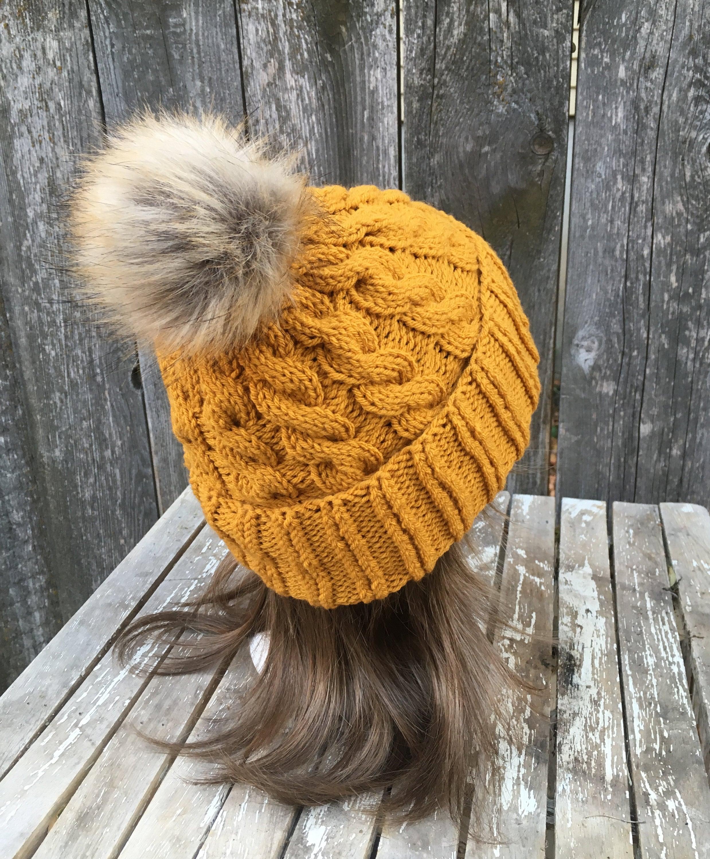 Women s Knit Hat with Faux Fur Pom Pom in Mustard Yellow 13262fab7ca