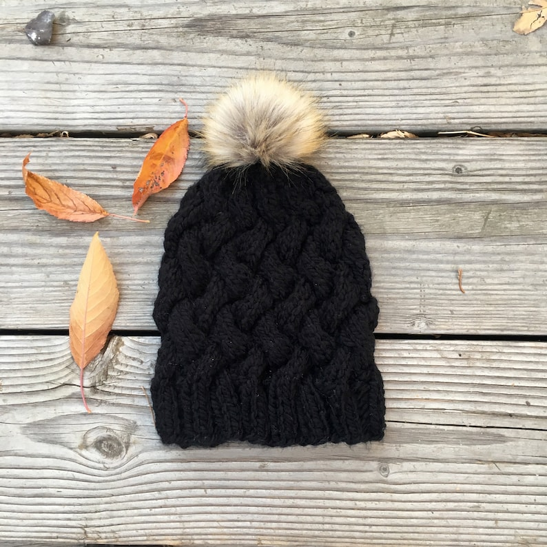 a43ef85ecc06f0 Knit Hat with Basket Weave Cables in Black with Faux Fur Pom | Etsy