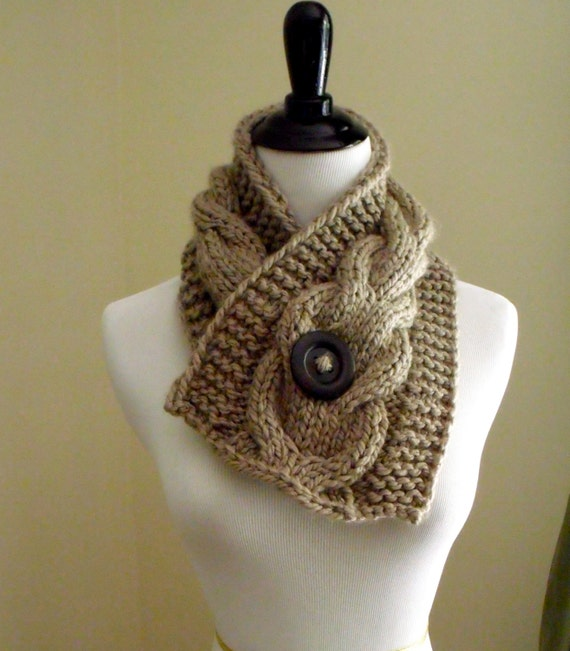 Womens Short Cable Knit Scarf Knitting Pattern Knitting Etsy