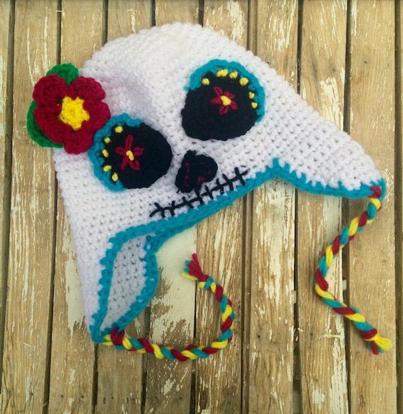Sugar Skull Earflap cappello Halloween giorno dei morti Dia  a925a4538298