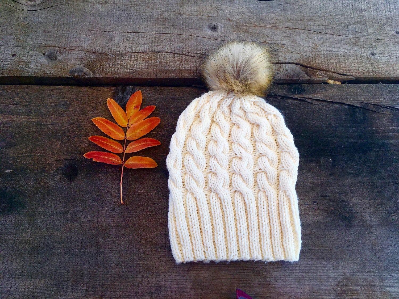 46cfa4bc9a0 Knit Hat with Fur Pom Pom Faux Fur Pom Pom Hat Women s