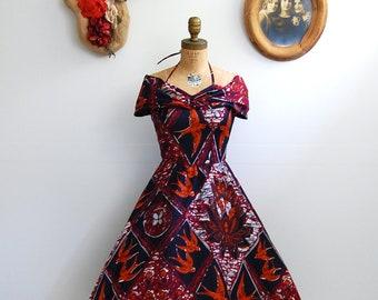 Vintage 1950s Dress - 50s Jamaican Novelty Print Dress - The Freya