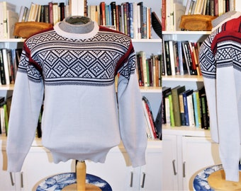 Mens Urban Vintage Retro Winter Wool Snowflake Jumper Pullover Size Large #12 Herrenmode