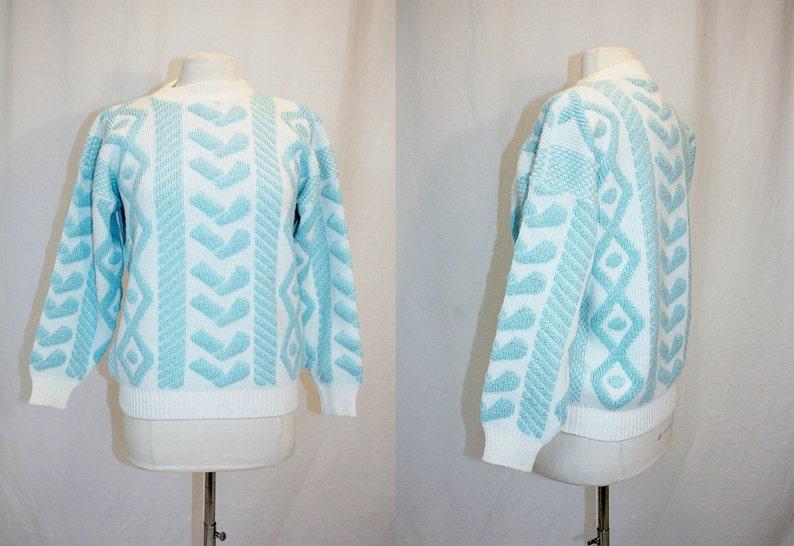 1502ba7e 1980's Aqua and White Silver Sparkle Sweater Medium | Etsy