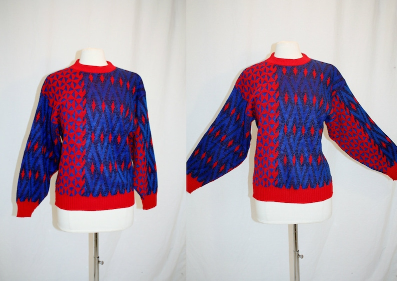 1990/'s REd amd Blue Abstract Grunge Urban Sweater Women/'s Small Medium Vintage Retro 90/'s Hipster Indie Geometric Pullover