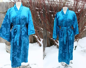 1990's Turquoise Kimono Robe Small Medium Japanese Asian Vintage Retro 90's Obi Weave Bonsai Symbols 2oWFNK9B