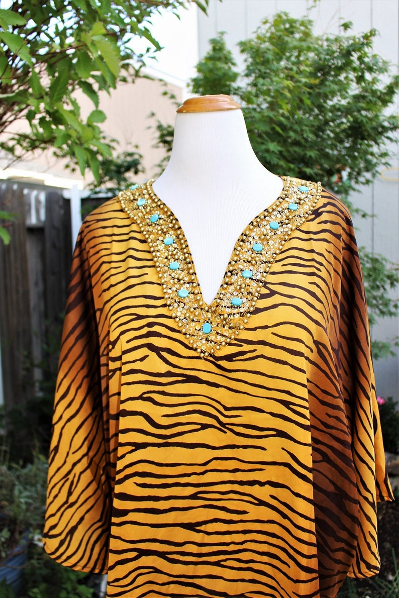 1990/'s embellished Tiger Top Blouse turquoise Plus Size 3X  Vintage Retro 90/'s Exotic Animal Print Africa Silky Beaded Sequins Caftan Like