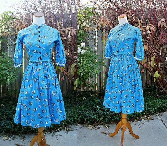 1960's  Blue Cotton Square Dancing Dress X-Small B