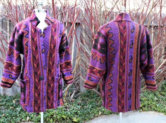Vintage Mohair Sweater Coat Wine Southwestern Soft
