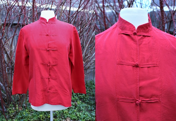 1990's Red Silk Chinses Blouse top Asian Tai Chi M