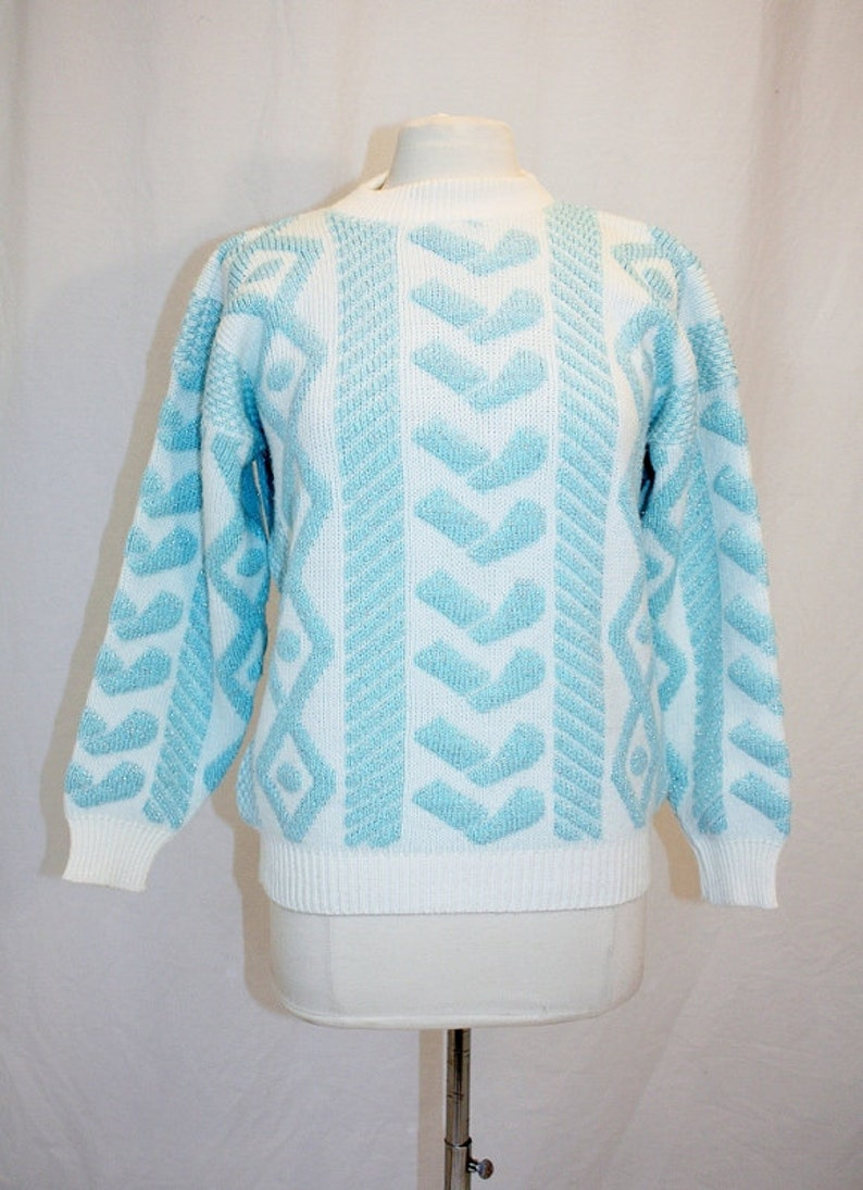 1980/'s Aqua and White  Silver Sparkle Sweater Medium Vintage REtro 80/'s Mock Turtleneck Hearts Ugly Party Acrylic Pullover