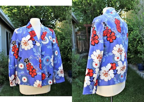 1990's Silk Jacket size 8 Harve Benard Blue Red Wh