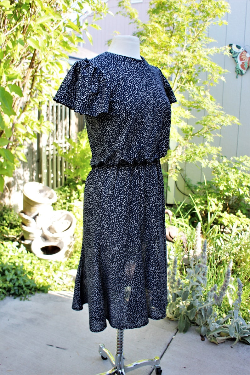 1980/'s Dress Navy blue And White Dots Flutter Sleeves Blouson Small Day Vintage Retro 80/'s Hipster