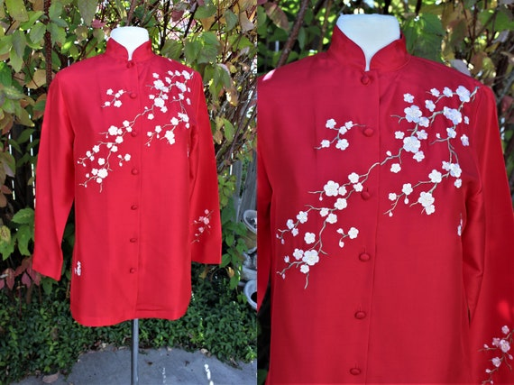 1990's Red Silk Chinese Blouse Embroidered White C