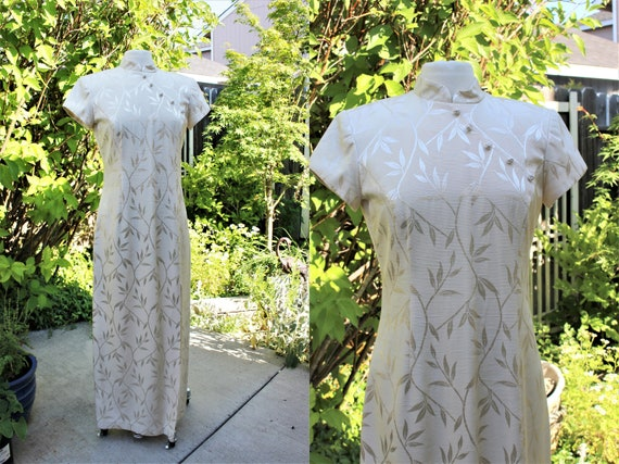 NOS 1940s 50s WW2 Vintage Size XS Small Womens Clothing Dress Ivory Lace Japanese Chinese Qipao Traditional Shanghai Lily Mandarin Cheongsam