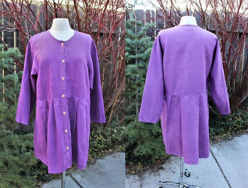 Hand Dyed Purple Orchid Linen Flax Jacket Artist Medium Artsy Boho Lightweight Tunic