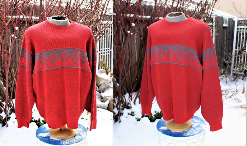 902f2d0ca 1980's Men's Lido Sports Wool Sweater Pullover REd Gray Nordic Ski Winter  X-Large Vintage Retro 80's Heavy Classic