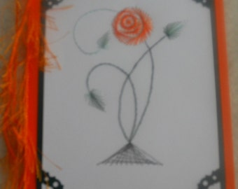 Rose, Stitched Card