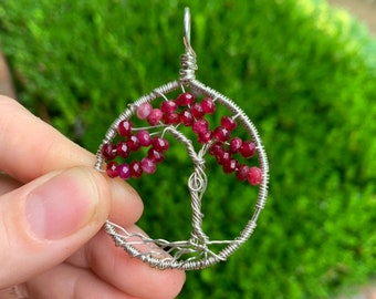 Tourmaline crystal tree of life in sterling silver