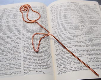 Custom order copper heart rose bookmark for Kelly