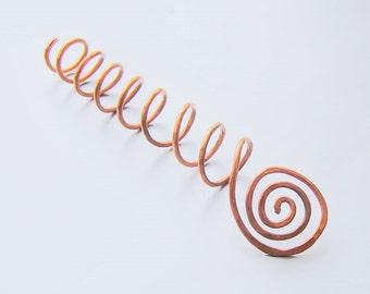 Copper hair screw for a bun or french twist hair stick coil hair tie brass hair screw