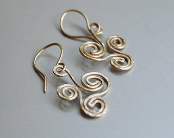 Trispiral sterling silver earrings