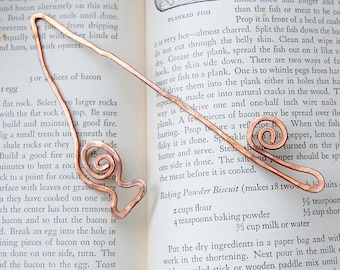 Fishing pole and fish copper bookmark hammered sport fisherman