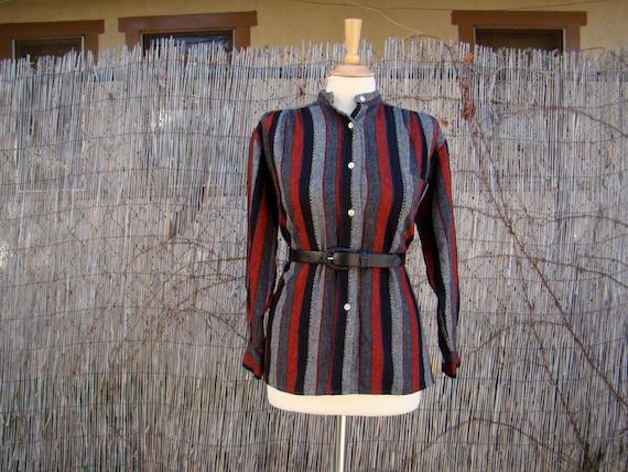 Vintage 70s / Red / Black / Grey / Striped / Wool