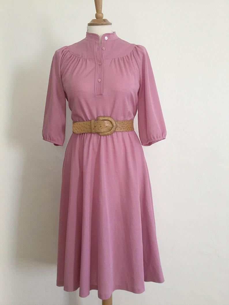 Vintage 70s  Mauve  Secretary Dress  Day Dress  Medium