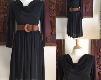 Vintage 70s / Black / Cowl Neck / Long Sleeves / Dress / Small / Medium
