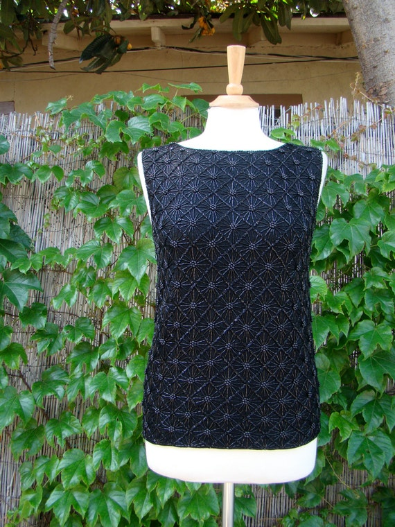 Vintage 50s / Black / Cocktail / Beaded / Holiday
