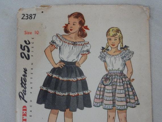 1940er Jahre Girls Bauer Bluse & gerafften Rock Puffärmel | Etsy