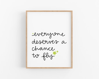 Everyone Deserves a Chance to Fly - Wicked - Broadway - Musical Theater - Sign - Poster - Shop Nicolina