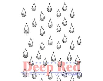 Deep Red - Cling Mounted Rubber Stamp - Rain Drops