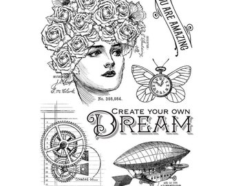 Graphic 45 - Imagine Collection - Clear Acrylic Stamps - Steampunk - Dream
