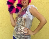 Ravey Crockett furry hat: for cheshire cat costumes, club kids, ravers, burners, kawaii geeks