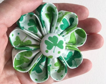 Green Shamrocks Brooch -St. Patrick's Day Flower Pin - Kanzashi with Shamrocks Print - Boutonniere