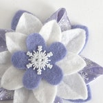 Winter Holiday Felt Flower Hair Clip - White and Periwinkle Blue with Snowflake Button and Snowflake Ribbon - Hanukkah