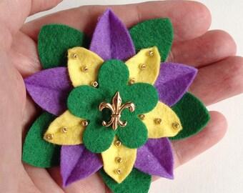 Mardi Gras Felt Flower Pin with Gold Fleur de Lys Button and Beads - Handmade Boutonniere