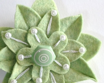 Pistachio Green Felt Flower Pin with Vintage White and Green Swirl Button Embroidery and White Pearls